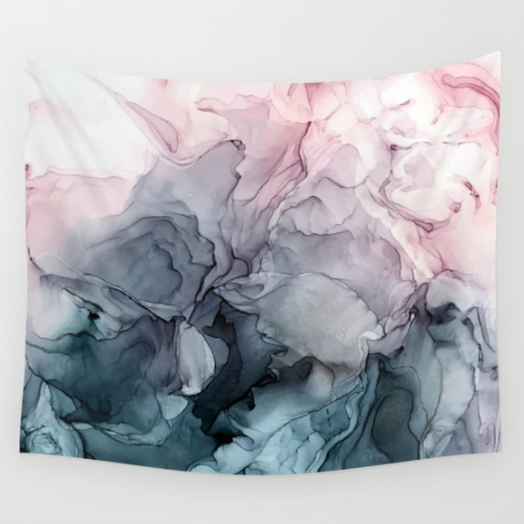 Society6 Other - NWOT Blush & Payne Grey Flowing Abstract Tapestry